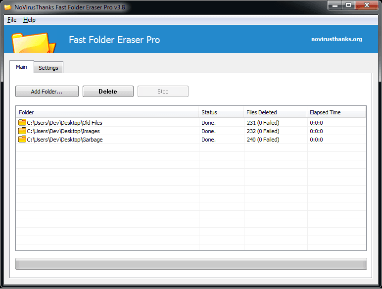 Windows 7 Fast Folder Eraser Free 3.8 full