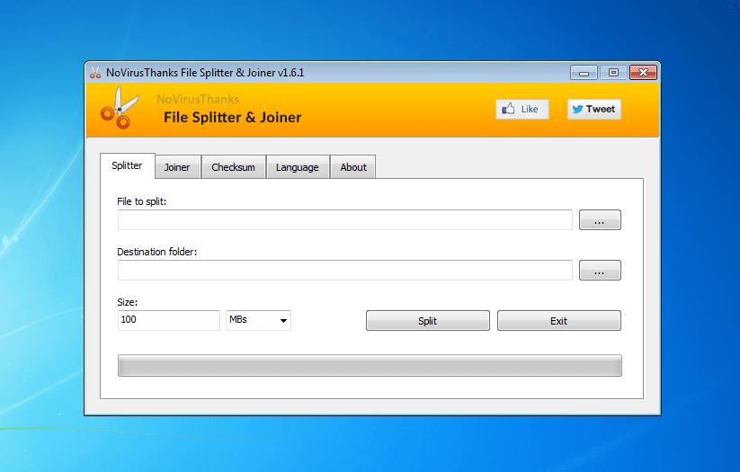 Windows 7 NoVirusThanks File Splitter & Joiner 1.6.1 full