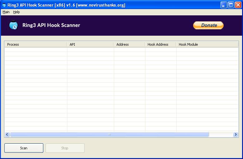 Ring3 API Hook Scanner full screenshot