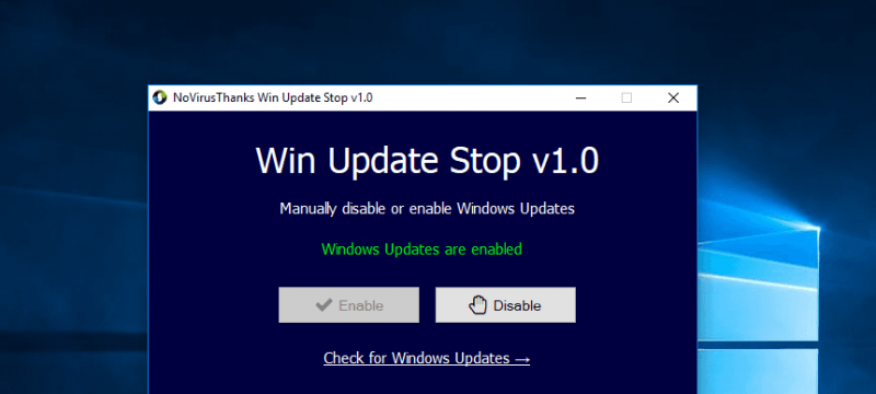 Disable Windows 10 Automatic Updates with Win Update Stop