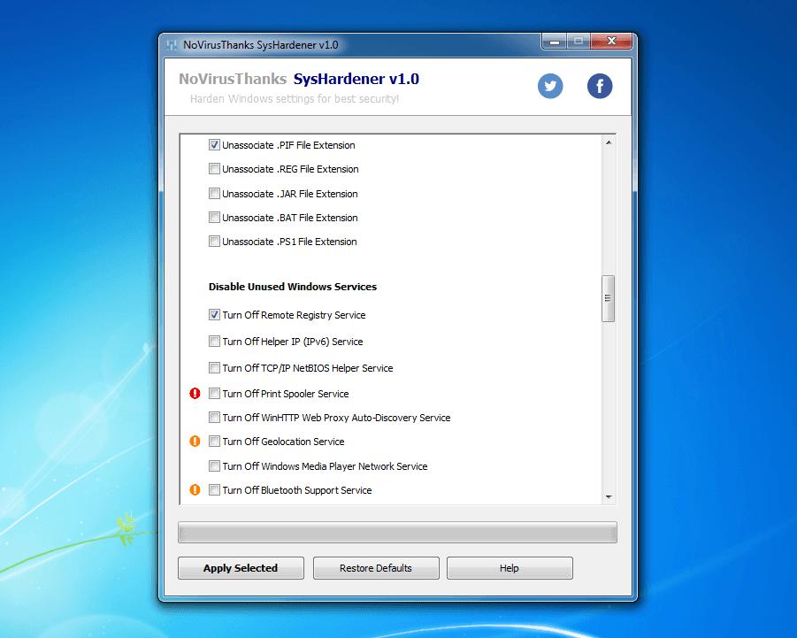 Harden Windows Settings with SysHardener | NoVirusThanks
